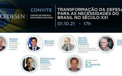 Cedesen promove nesta sexta-feira o webinar 'Transformação da Defesa para as Necessidades do Brasil no Século XXI'